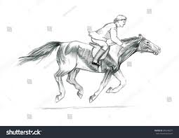 thi pencil sketch on paper rider stock illustration 640248277