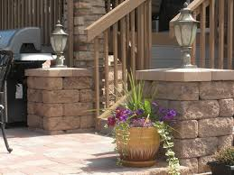 Patio Pillar Lights Posts And Pillars On Patio With Accent Lighting Contemporary