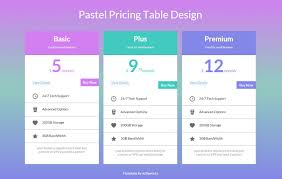 design a html table pastel pricing table design widget template by w3layouts