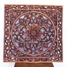 Indonesia Home Decor Square Wood Wall Panel Hand Carved Balinese Decoration Floral Motif