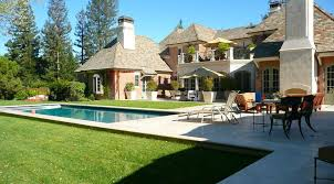 rustic landscaping ideas patio traditional with rectangle pool