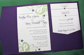 pocketfold invitations purple green swirls and starfish wedding pocketfold