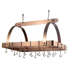 lighted hanging pot racks kitchen old dutch 30 in x 20 5 in x 15 75 in oiled bronze pot rack with