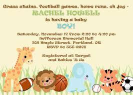 baby boy shower invitation jungle safari zoo animals u0026 sports