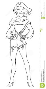 brave vintage dressed pirate lady coloring page vector illustra