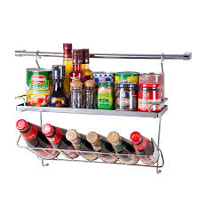 Stainless Steel Wall Spice Rack Dapai House 304 Stainless Steel Kitchen Seasoning Bottle Wall Rack