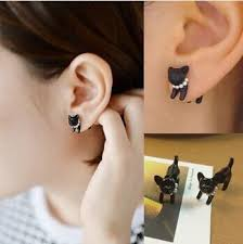 cat stud earrings black cat stud earrings sugar cotton