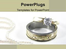 powerpoint template gold wedding band and diamond engagement ring