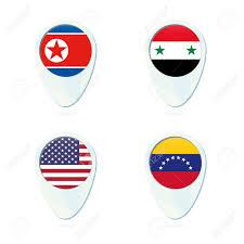 Korea Flag Icon North Korea Syria Usa Venezuela Flag Location Map Pin Icon