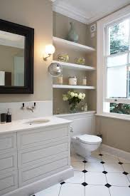 Built In Shelves In Bathroom Built In Bathroom Shelves Bathroom Traditional With Satin Nickel