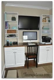 Diy Office Built Ins Using Stock Kitchen Cabinets And Custom - Kitchen cabinets for home office