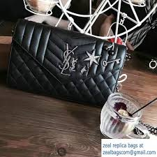Monogram Charms Saint Laurent Monogram Charms Matelasse Crystal Trim Chain Flap