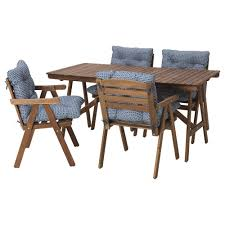 Solid Wood Dining Room Sets Falholmen Table And 4 Armchairs Outdoor Falholmen Gray Brown