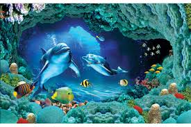 wall mural aquarium with fishes wallpapers mural 3d visualization sea bottom with dolphins in 2 colors