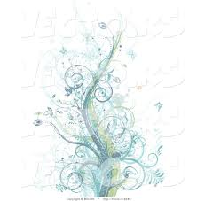 vector of grunge pastel blue purple and green vines among splatters