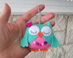 felt owl ornament etsy