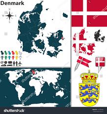 vector map denmark regions coat arms stock vector 171782564