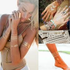 gold silver metallic tattoos necklace bracelet flash jewelry