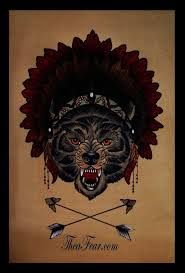 Wolf Indian Tattoos - crossed arrows indian wolf design best designs
