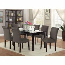 7pc Dining Room Sets Esofastore Ash Black Polyfiber Upholstered Side Chairs Dining