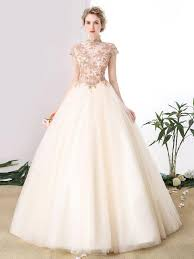 wedding dresses high 2017 chic a line high neck sleeve appliques tulle gowns