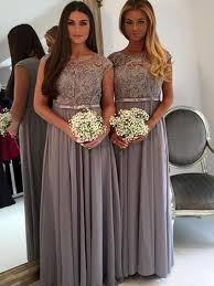 modest bridesmaid dresses grey lace bridesmaid dress cap sleeve bridesmaid dress