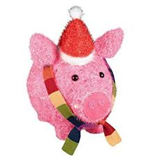 christmas pig lighted tinsel pig with hat and scarf christmas yard decor