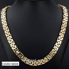 gold chain necklace wholesale images Davieslee necklace for men flat byzantine link silver black gold jpg