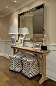 Rustic Hallway Table Designs Ideas Gorgeous Hallway Deor With Unique Wall Mirror And