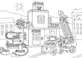 fire truck clipart fire station building pencil color