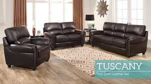 tuscany 3 piece top grain leather living room set video gallery