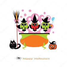 halloween vector illustration cute owl witches cooking potion in