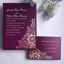 Marriage Card Personalized Retro Exquisite Purple Floral Wedding Card Ewi078 As
