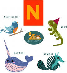 n letter design with colored flat style animals free vector in