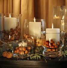 2014 diy thanksgiving pine cone bouquets candles centerpiece