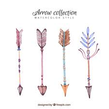 watercolor pack of arrows with decorative feathers vector free