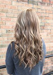 shades of high lights and low lights on layered shaggy medium length the fall blonde is a blend of natural blonde cool brown shades to