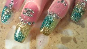 how to coffin shape ombre glitter nails youtube