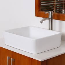 elite bathroom rectangle white ceramic porcelain vessel sink