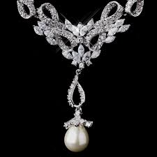 vintage necklace sets images Dazzling vintage cz pearl wedding necklace set elegant bridal jpg