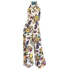 1970s jumpsuit amazing 1970s wide leg high neck flower vintage 70s cropped