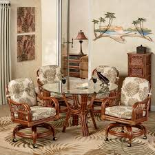 Casters For Dining Room Chairs Leikela Rattan Tropical Dining Furniture Set