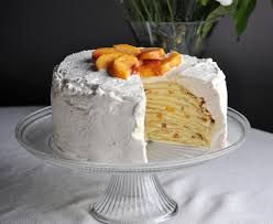 peaches and cream crepe cake batter and dough