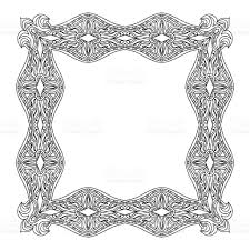 abstract mandala frame coloring page stock vector art 501192376