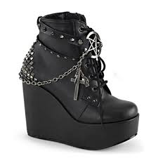 s boots wedge demonia poison 101 studded wedge ankle boot demonia shoes at