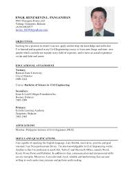 Sample Resume Philippines by Resume Sample For Ojt Civil Engineering Resume Ixiplay Free