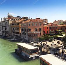 Traditional European Houses Beautiful View Of Venice Grand Canal Sunny Day Landscape With