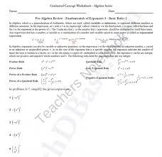basic algebra worksheet 8 pre alg rev funds of exponents 3