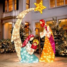 lighted nativity scene outdoor as outdoor flood lights nice