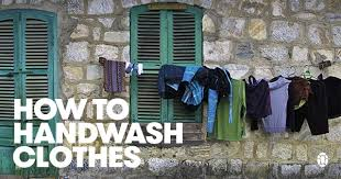 an illustrated guide to hand washing clothes while traveling